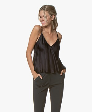 Mes Demoiselles Leop Satin A-line Top - Black