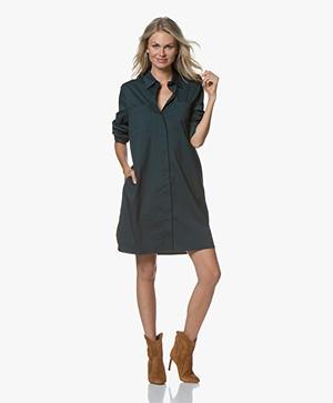 Repeat Cotton Blend Poplin Dress - Algae