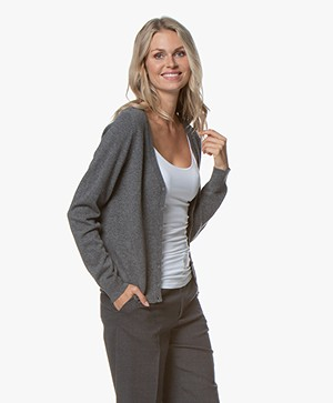 Repeat Cashmere V-neck Cardigan - Medium Grey