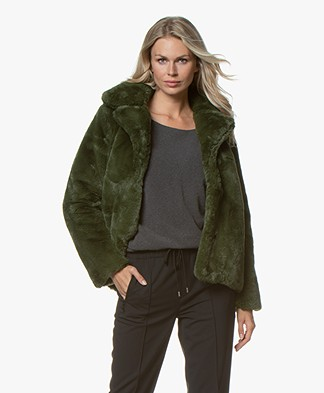 Josephine & Co Glenn Faux Fur Jas - Dark Olive