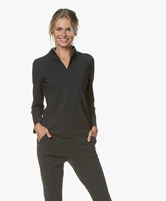 Woman by Earn Pien Tech Jersey Splithals Longsleeve - Donkergrijs
