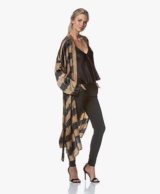 Mes Demoiselles Donegal Satijnen Tie-dye Kimono - Bruin