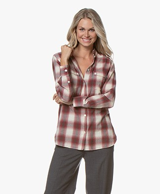 Vanessa Bruno Mars Checked Cotton Shirt - Aubergine