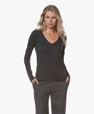 Majestic Filatures V-neck T-shirt with Cashmere - Anthracite Melange