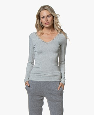 by-bar Basic Long Sleeve with Lace - Grey Melange