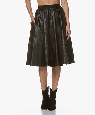 Drykorn Jaloma Faux Leather Circle Skirt - Black