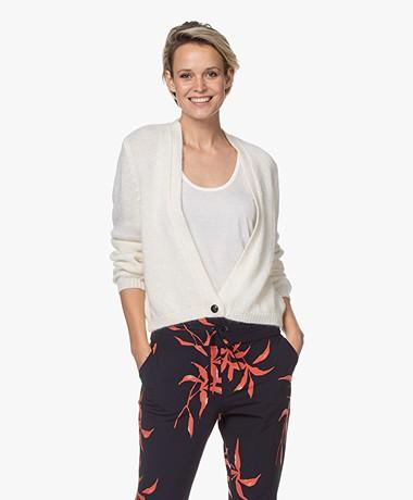 Sibin/Linnebjerg Celine Mohairmix Vest met Knoop - Off-white