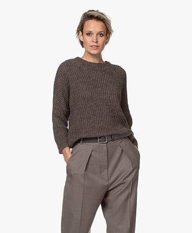 by-bar Milou Susi Fisherman's Rib Sweater - Brownie