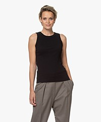 Drykorn Olina Cotton Rib Jersey Tank Top - Black