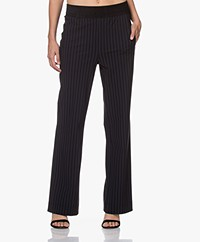 no man's land Tech Jersey Pinstripe Pants - Blue Black