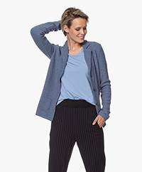 Belluna Fiore Wool Blend Knit Blazer Cardigan - Mid Blue Melange