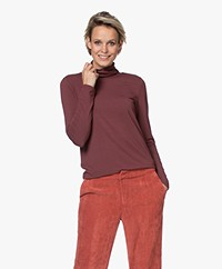 Repeat Viscose Turtleneck Long Sleeve - Burgundy