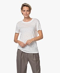 IRO Clay Distressed Linen T-shirt - Ecru