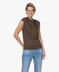 Repeat Sleeveless Top with Tie Neck - Khaki