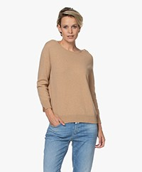 LaSalle Cashmere Cropped Sleeve Pullover - Sand