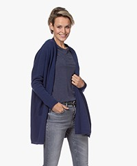 no man's land Open Merino and Cashmere Cardigan - Classic Blue