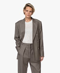 IRO Alliza Double-breasted Wollen Blazer - Kaki