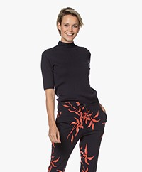 JapanTKY Tora Cotton Short Sleeve Turtleneck Sweater - Navy