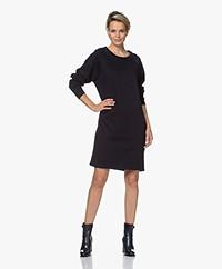 by-bar Lena Tweed Jersey Sweaterjurk - Donker Navy