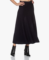no man's land Merino Knitted A-line Skirt - Dark Sapphire