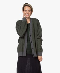 Closed Double-face Button-down Cardigan - Lentil