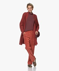 Repeat Open Wool and Cashmere Cardigan with Ajour Details - Terracotta