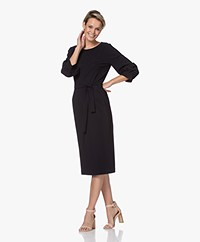 LaDress Olivia Travel Jersey Midi Jurk - Zwart