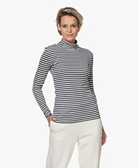 by-bar Basic Striped Turtleneck - Indigo/Beige