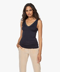 by-bar Double V-neck Top with Lace - Dark Navy