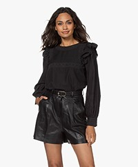 by-bar Demi Embroidered Ruffle  Blouse - Jet Black