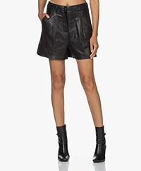 by-bar Lexi Leather Paperbag Shorts - Black