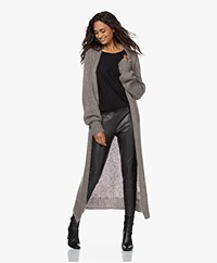 LaSalle Long Open Wool Blend Oversized Cardigan - Chestnut