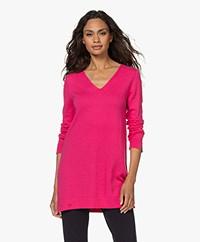 KYRA Carlotta Long V-neck Sweater - Fluo Pink