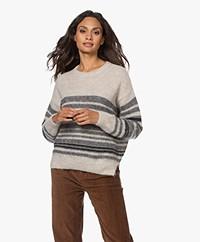 by-bar Liz Alpaca Mix Striped Pullover - Jet Black