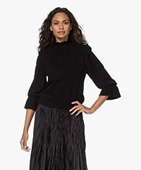 ba&sh Sinto Lyocell Blend Frilled Sweater - Black