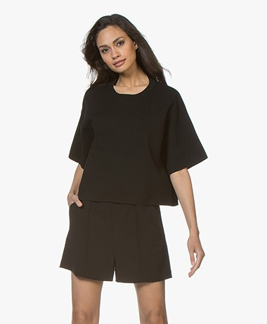 Drykorn Deanie Boxy Short Sleeve Sweater - Black