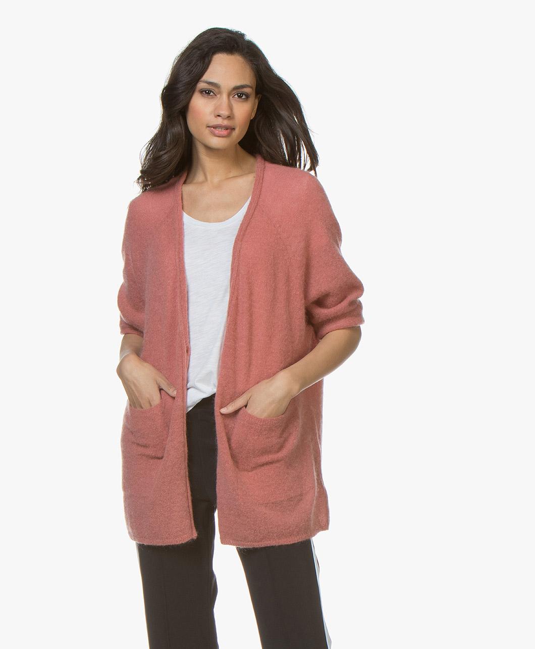 Obrázek American Vintage Cardigan Ugoball Mohair Blend Antique Pink