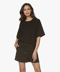 Drykorn Deanie Boxy Sweater met Korte Mouwen - Zwart