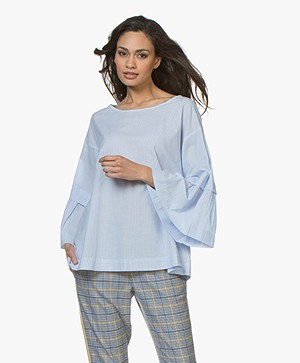 Repeat Striped Poplin Blouse - Sky