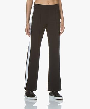 LaSalle Tech Jersey Side Stripe Pants - Black/White