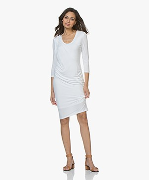 Majestic Filatures Pleated Jersey Dress - White