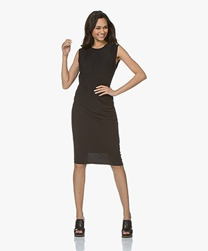 Majestic Filatures Jersey Dress with Pleats - Black