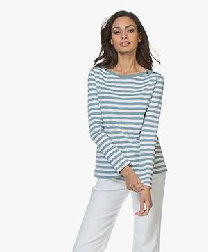 Petit Bateau Gestreept Jersey L/S T-shirt - Fontaine/Marshmallow