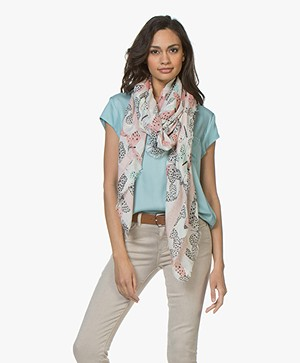 Repeat Viscose Printed Butterfly Scarf - Pink