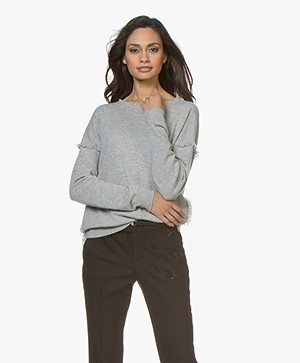 Repeat Cashmere Sweater with Fringes - Silver Grey