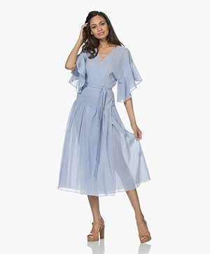 Vanessa Bruno Lolita Striped Gauze Midi-dress - Marine