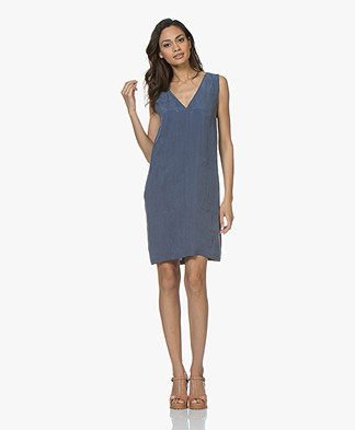 Drykorn Serina Sleeveless Cupro Tunic Dress - Dark Blue