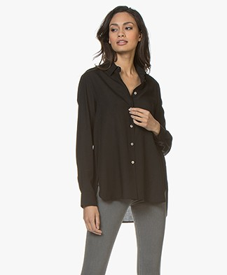 Filippa K High-Low Tencel Blouse - Zwart