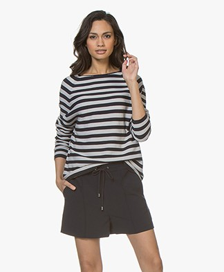 Drykorn Maila Striped Boat Neck Sweater - Navy/Grey