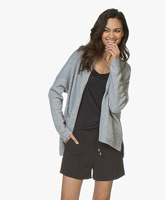 Sibin/Linnebjerg Zeta Wool Blend Open Cardigan - Grey